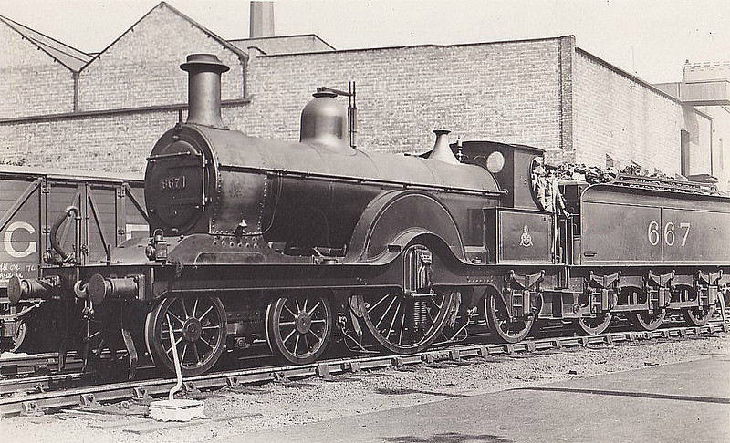 667 - Johnson MR Class 179 4-2-2 - built 1893 by Derby Works as MR No.77 - 1907 to MR No.667 - 1925 withdrawn.