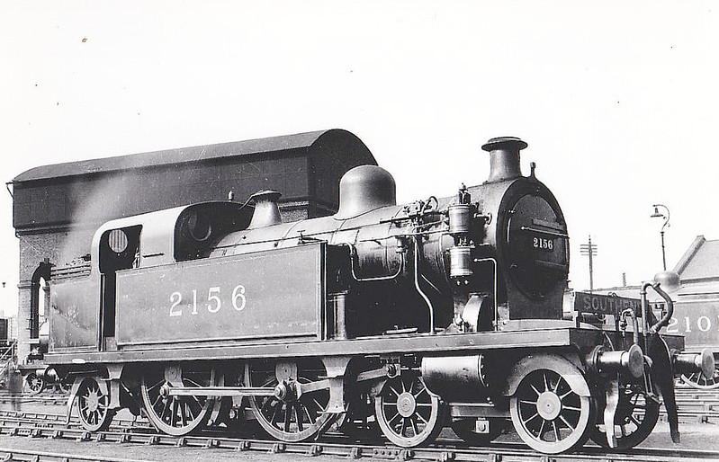 2156 - Whitelegg LTSR Class 37 4-4-2T - built 01/1899 by Dubs & Co. as LTSR No.47 STRATFORD - 1912 to MR No.2156, 1930 to LMS No.2145, 12/48 to BR No.41963 - 02/51 withdrawn from 13A Plaistow.