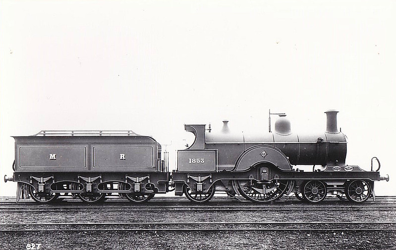 1853 - Johnson MR Class 1853 4-2-2 - built 1889 by Derby Works - 1889 sent to Paris International Exhibition - 1907 to MR No.608 - 1921 withdrawn.