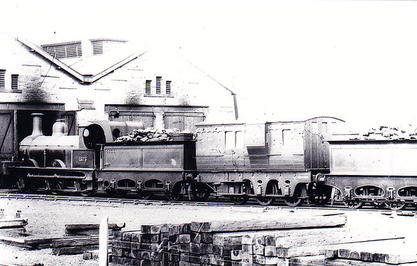 Class 1357 - 1373 - Johnson 2F 0-6-0 - built 1878 by Dubs & Co., Works No.1054, as MR No.1373 - 1907 to MR No.3036 - 1923 to LMS - 1927 withdrawn - seen here at Hellifield - note tender cab.