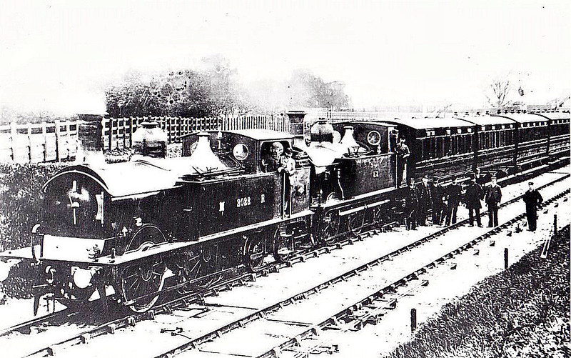 2022 - Johnson MR Class 1P 0-4-4T - built 02/1892 by Dubs & Co. as MR No.2022 - 1907 to MR No.1370 - BR No.58067 not applied - 02/53 withdrawn from 17A Derby - seen here piloting 0-4-4T No.1722 on the first Wellingborough - Higham Ferrers train, May 1st, 1894.