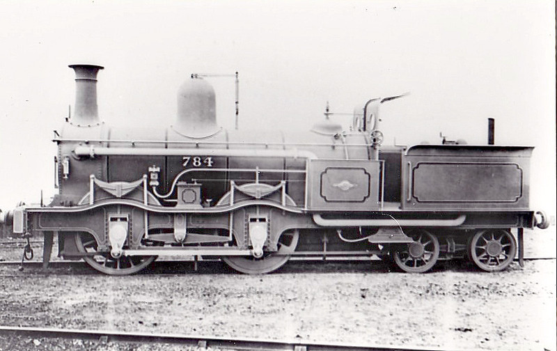 784 - Kirtley MR Class 780 0-4-4T - built 05/1870 by Dubs & Co. as MR No.784 - 1907 to MR No.1210 - 09/30 withdrawn.