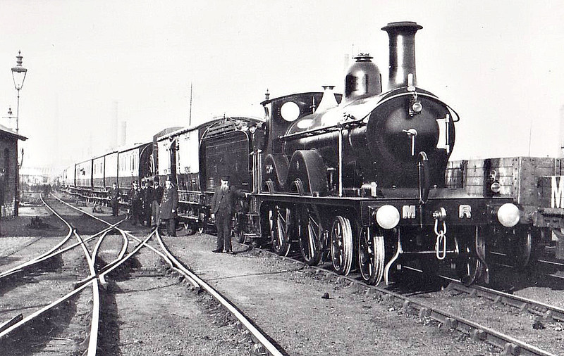 2209 - Johnson MR 2203 Class 4-4-0 - built 1893 by Sharp Stewart & Co. as MR No.2209 - 1907 to MR No.434 - 1916 withdrawn - seen here with the LNWR Royal Train at Sheffield in May 1897.