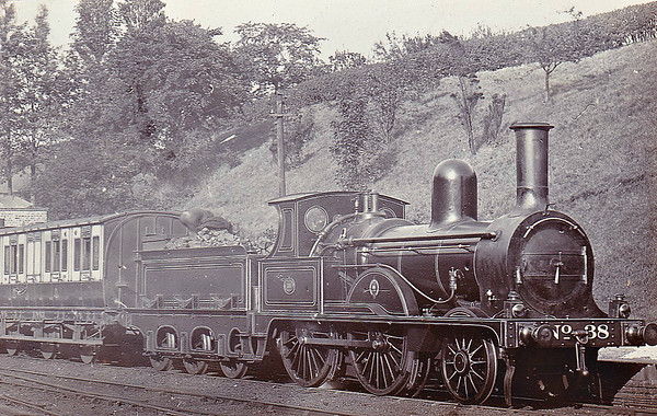 38 - Dodds NSR Class 38 2-4-0 - built 1874 by Stoke Works - 1893 rebuilt to Class C - 1912 withdrawn - seen here at Prestbury before rebuild.