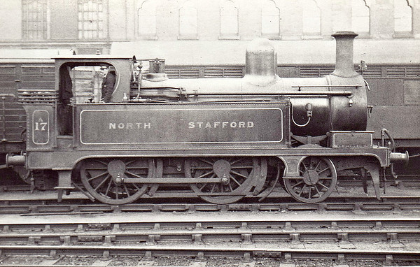 17A - Longbottom NSR Class B 1P 2-4-0T - built 1882 by Stoke Works - 1920 to NSR No.17A, 1923 to LMS No.1440 - 06/28 withdrawn - seen here at Burton on Trent in April 1925.