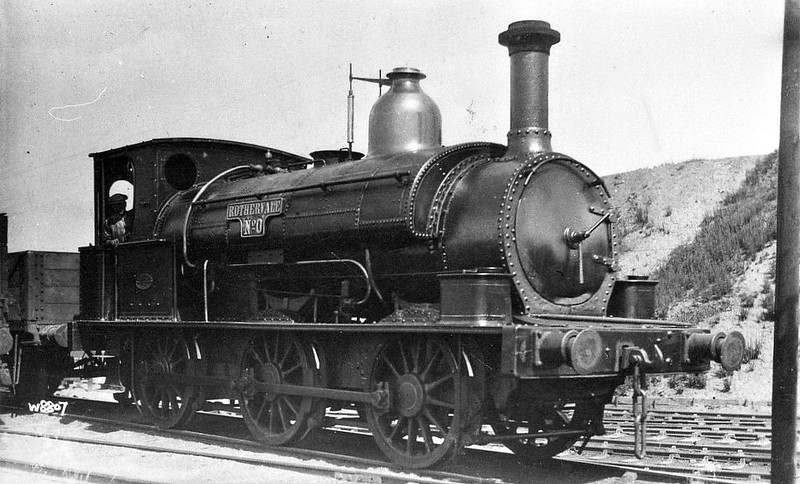 No.1 - 0-6-0ST - built 1879 by Beyer Peacock & Co. for the East & West Junction Railway - worked between Stratford-on-Avon and Broom - 1890 sold to Rother Vale Collieries as No.0, as seen here - 1948 to NCB - 1959 scrapped.