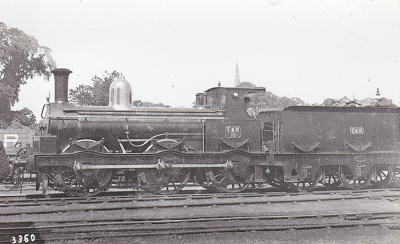 No.10 - 0-6-0 - built 1895 by Beyer Peacock & Co., Works No.3613, for E&WJR - 1909 to Stratford-Upon-Avon & Midland Junction Railway - 1923 to LMS as No.2304 (not applied) - 1924 withdrawn and broken up for spare parts - seen here at Olney in June 1895.