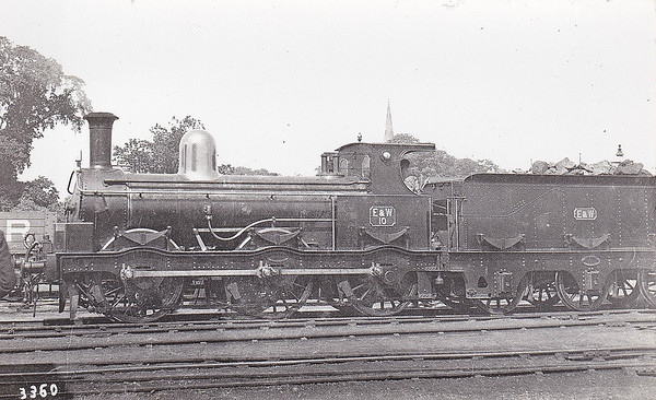 No.10 - 0-6-0 - built 1895 by Beyer Peacock & Co. for E&WJR - 1909 to Stratford-Upon-Avon & Midland Junction Railway - 1923 to LMS as No.2304 (not applied) - 1924 withdrawn and broken up for spare parts.