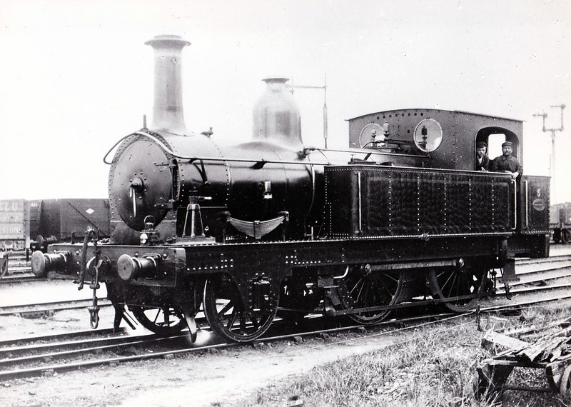 No.5 - 2-4-0T - built 1884 by Beyer Peacock & Co., Works No.2465, for the Swindon, Marlborough & Andover Railway as No.9 - bought by E&WJR as No.5 - 1916 sold to War Department as Marlborough Camp Railway No.94 - fate not known - seen here before 1907 rebuild at Stratford MPD - banned from reverse running except in emergency due to instability.