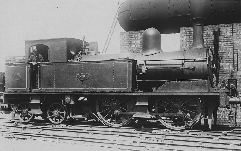 No.8 - 0-4-4T - built 1888 by Beyer Peacock Ltd, Works No.2863 - 1924 withdrawn - seen here at Birkenhead North.