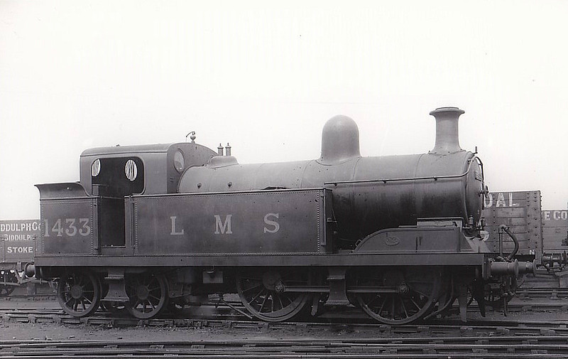 NSR - 1433 - Adams NSR Class M 3P 0-4-4T - built 01/08 by Stoke Works as NSR No.12 - 1923 to LMS No.1433 - 10/35 withdrawn - seen here at Stoke, 05/32.