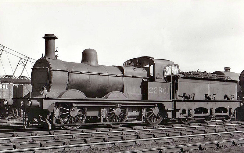 MR - 22901 - Johnson MR Class 2F 0-6-0 - built 03/1875 by Kitson & Co. as MR No.1143 - 1907 to MR No.2901, 11/34 to LMS No.22901, 05/49 to BR No.58115 - 03/61 withdrawn from 11B Barrow - seen here at Crewe in 1934.