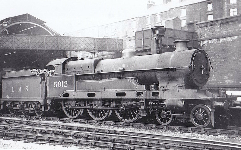 LNWR - 5912 LORD FABER - Bowen-Cooke LNWR 'Claughton' Class 5XP 4-6-0 - built 08/14 by Crewe Works as LNWR No.1131 - 02/26 to LMS No.5912 - 02/35 withdrawn - seen here at Sheffield Midland.