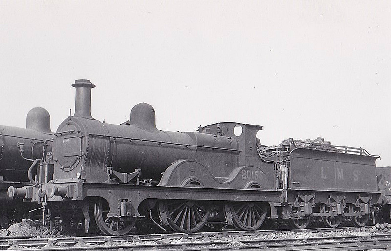 MR - 20155 - Johnson MR Class 1 2-4-0 - built 1876 by Derby Works as MR No.96 - 1907 to MR No.155, 1930 to LMS No.20155, 1948 to BR No.58020 - 10/50 withdrawn from 16A Nottingham - seen here at Nottingham, 06/50 - only MR 2-4-0 to receive BR No.