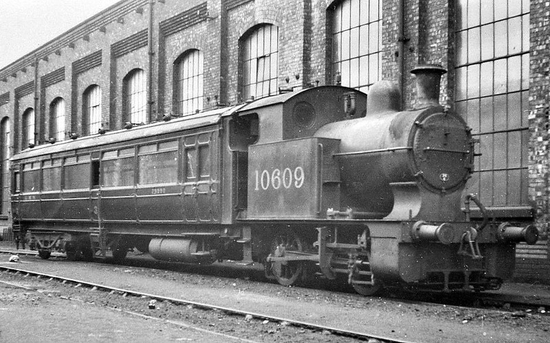 LYR - 10609 - Hughes LYR 0-4-oT Railmotor - built 03/07 by Horwich Works as LYR Railmotor No.12 - 1923 to LMS No.10609 - 08/37 withdrawn - seen here at Horwich Works.