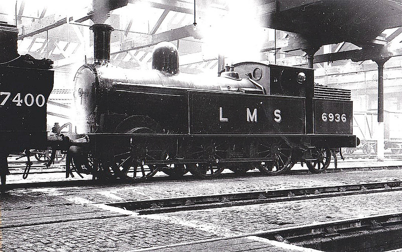LNWR - 6936 - Webb LNWR Watford Tank 0-6-2T - built 03/02 by Crewe Works as LNWR No.2382 - 1923 to LMS No.6936 - 08/46 withdrawn from Bletchley MPD - seen here at Longsight, 03/37.