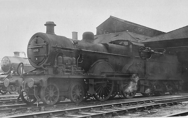 MR - 653 - Johnson MR Class 2P 4-4-0 - built 09/31 by Derby Works as LMS No.653 - 06/48 to BR No.40653 - 11/59 withdrawn from 5A Crewe North - seen here fitted with Dabeg feedwater heater.