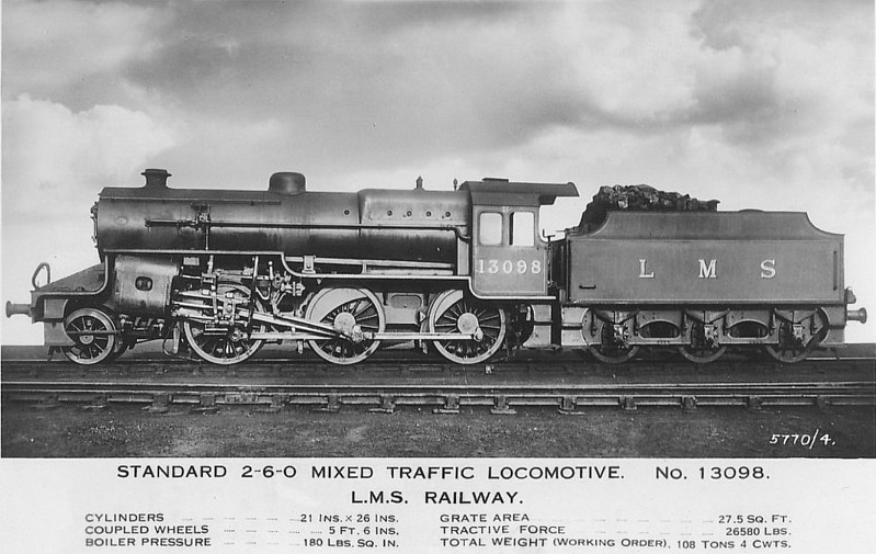 LMS - 13098 - Hughes LYR/LMS Class 5MT Crab 2-6-0 - built 12/27 by Crewe Works - 10/35 to LMS No.2798, 04/49 to BR No.42798 - 11/63 withdrawn from 20B Stourton.
