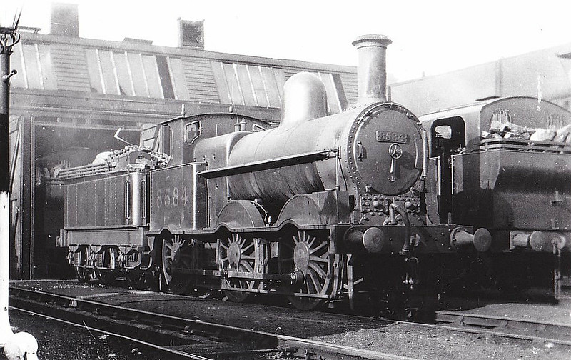 LNWR - 8584 - Webb LNWR Class 2F 'Cauliflower' 0-6-0 - built 02/01 by Crewe Works as LNWR No.542 - 01/27 to LMS No.8554 - 12/32 withdrawn - seen here at Patricroft MPD, 07/31.