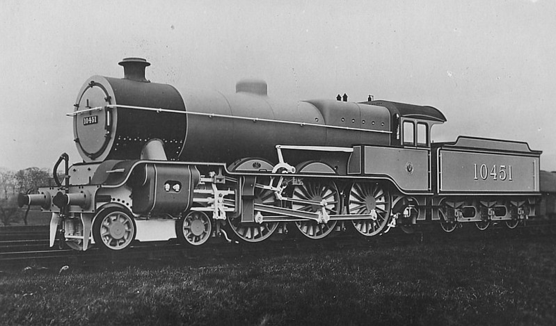 LYR - 10451 - Hughes LYR /LMS 'Dreadnought' Class 5P 4-6-0 - built 08/23 by Horwich Works as LYR No.1680 - 1923 to LMS No.10451 - 1936 withdrawn.
