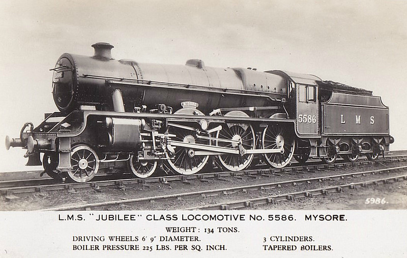 LMS - 5586 MYSORE - Stanier LMS 'Jubilee' Class 4-6-0 - built 12/34 by North British Loco Co. - 07/48 to BR No.45586 - 01/65 withdrawn from 5B Crewe South.
