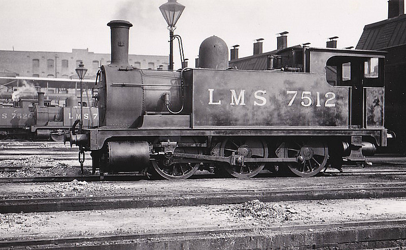 NLR - 7512 - Park NLR Class 75 0-6-0T - built 09/1881 by Bow Works as NLR No.64 - 1909 to LNWR No.2882, 06/26 to LMS No.7512, 08/34 to LMS No.25712, 04/48 to BR No.58853 - 11/54 withdrawn from 1D Devons Road - seen here at Bow, 09/31.
