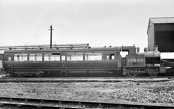 LYR - 10600 - Hughes LYR 0-4-oT Railmotor - built 1906 by Horwich Works as LYR Railmotor No.3 - 1923 to LMS No.10600 - 1947 withdrawn.