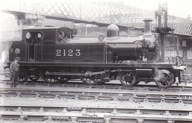 LTSR - 2123 - Whitelegg LTSR Class 1 4-4-2T - built 1881 by Sharp Stewart & Co. as LTSR No.14 LEIGH - 1912 to MR No.2123, 1925 to LMS No.2213, 1930 to LMS No.2090 - 1935 withdrawn - seen here at Derby, 05/24.