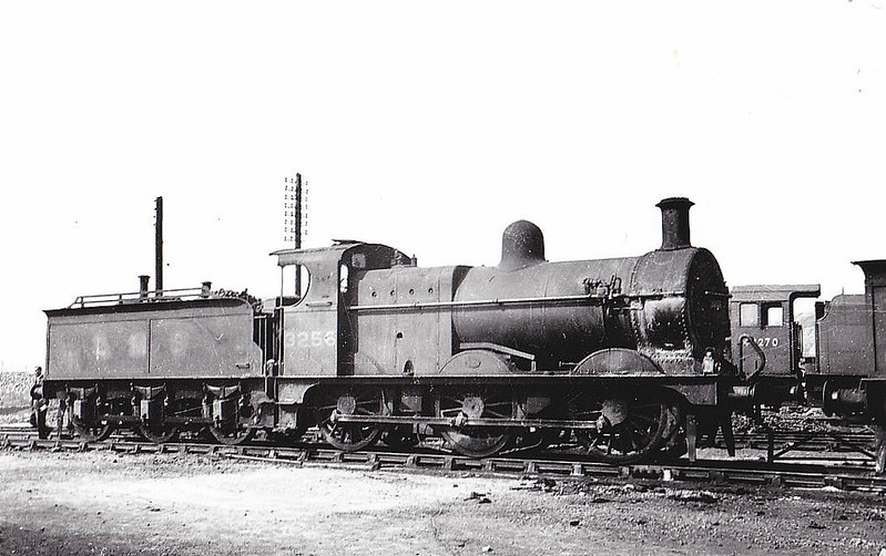 MR - 3256 - Johnson MR 2F 0-6-0 - built 12/1890 by Neilson & Co. as MR No.1928 - 1907 to MR No.3256, 04/50 to BR No.43256 - 02/60 withdrawn from 17B Burton - seen here at Kirkby in Ashfield, 07/49.