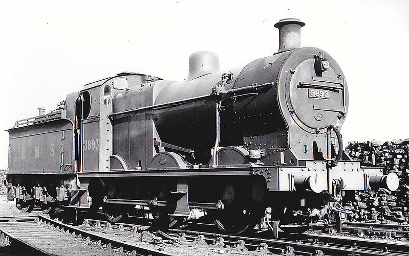 LMS - 3893 - Fowler LMS Class 4F 0-6-0 - built 07/19 by Derby Works - 06/48 to BR No.43893 - 05/65 withdrawn from 23A Skipton, where seen 08/39.