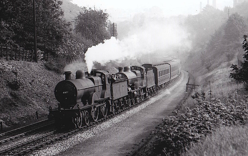 MR - 337 - Johnson MR Class 2P 4-4-0 - built 11/1882 by Derby Works as MR No.1571 - 1907 to MR No.337, 05/49 to BR No.40337 - 04/58 withdrawn from 18C Hasland - seen here at Totley, 09/38.