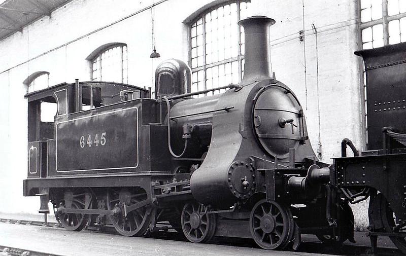 NLR - 6445 - Price NLR 4-4-0T - built 1909 by Bow Works, Works No.337, as NLR No.6 - 1922 to LNWR No.2805, 02/24 to LMS No.6445 - 1932 withdrawn - seen here Derby Works Paint Shop, 11/31.