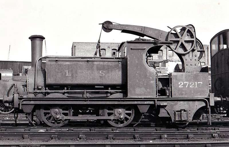 NLR - 27217 - NLR 0-4-2ST Crane Tank - built 1858 by Sharp Stewart as an 0-4-0 for the North & South West Junction Railway - 1872 rebuilt by Park at Bow Works as 0-4-2CT, No.29A - 1922 to LNWR No.2896, 1923 to LMS No.7217, 1935 to 27217, 03/49 to BR No.58865 - 02/51 withdrawn, preserved - seen here at Bow Works.