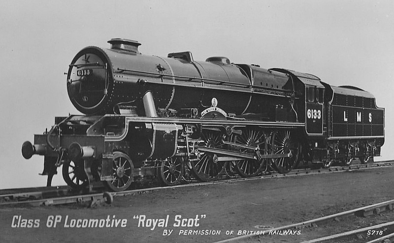 LMS - 6133 THE GREEN HOWARDS - Fowler LMS Royal Scot 4-6-0 - built 10/27 by North British Loco Co. - 01/49 to BR No.46133 - 02/63 withdrawn from 26A Newton Heath - seen here after rebuild.