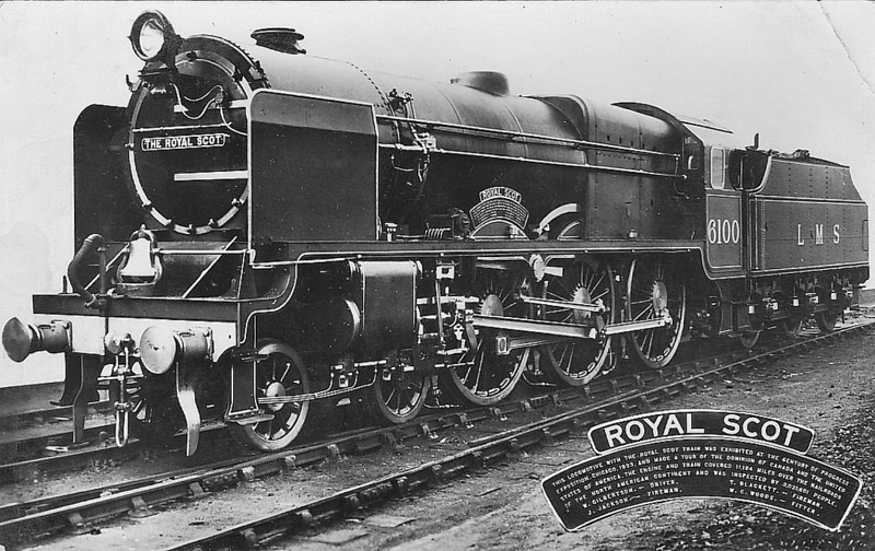 LMS - 6100 ROYAL SCOT - Fowler LMS Royal Scot 4-6-0 - built 08/27 by North British Loco Co. - 12/33 swapped identities with 6152 THE KING'S DRAGOON GUARDSMAN as 6100 ROYAL SCOT was due to tour America but was in poor mechanical condition. Original identities were never restored and the preserved engine is 6152 - 06/48 to BR No.46152 - 04/65 withdrawn from 12A Carlisle Kingmoor - seen here after her return from the USA so we may safely assume that this is really No.6152.