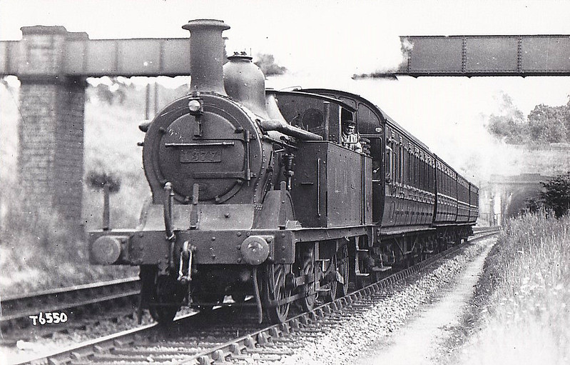 MR - 1377 - Johnson MR 1532 Class 0-4-4T - built 09/1893 by Neilson & Co. as MR No.2224 - 1907 to MR No.1377, 01/51 to BR No.58071 - 07/56 withdrawn from 22B Gloucester Barnwood - seen here on a St Pancras - St Albans train near Elstree, 1931.