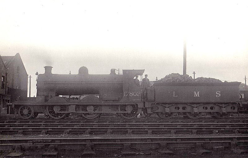 CR - 17802 - McIntosh CR Class 34 2-6-0 - built 1912 by St Rollox Works as CR No.36 - 01/23 to LMS No.17802 - 1936 withdrawn - seen here at Carlisle Kingmoor.