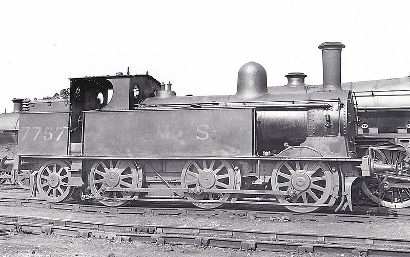 LNWR - 7757 - Webb LNWR 'Coal Tank' 2F 0-6-2T - built 08/1886 by Crewe Works as LNWR No.266 - 1923 to LMS No.7757, 01/49 to BR No.58915 - 09/54 withdrawn from 87K Swansea Victoria - seen here at Mold Junction, 04/38.