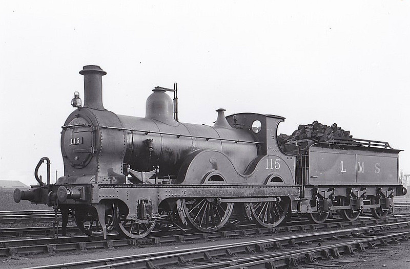 MR - 115 - Kirtley MR Class 890 2-4-0 - built 1874 by Derby Works as MR No.78 - 1907 to MR No.115 - 1937 withdrawn - seen here at Bedford, 01/34.
