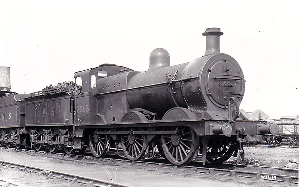MR - 3283 - Johnson MR Class 1873 2F 0-6-0 - built 1891 by Neilson & Co., Works No.4228, as MR No.1956 - 1907 to MR No.3283 - 1923 to LMS - 08/48 to BR No.43283 - 08/53 withdrawn from 8B Warrington Dallam - seen here at Derby after rebuild to Class 3F.