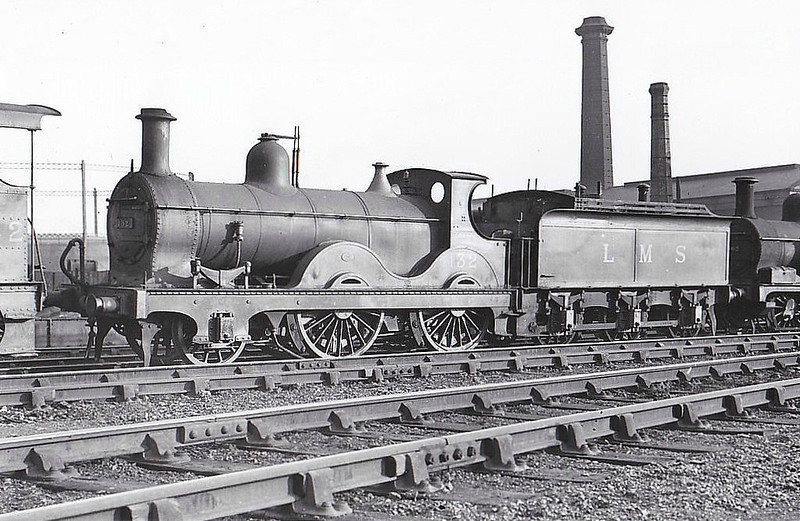 MR - 132 - Johnson MR Class 1070 2-4-0 - built 1874 by Sharp Stewart & Co. as MR No.1075  - 1907 to MR No.132 - 1933 withdrawn - seen here at Derby, 11/33.