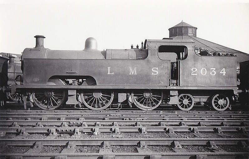MR - 2034 - Deeley MR Class 3P Flatiron 0-6-4T - built 1907 by Derby Works - 1937 withdrawn - seen here at Derby, 11/35.