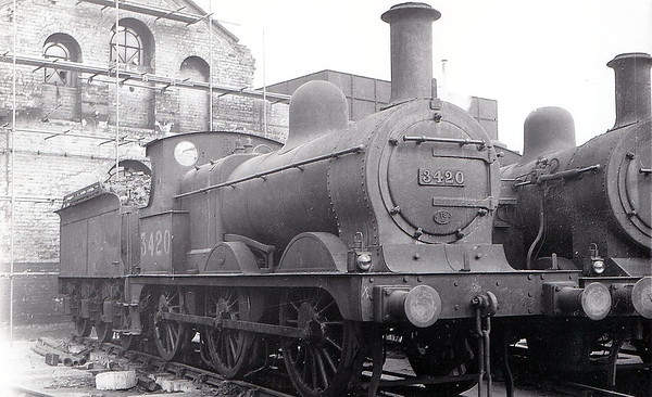 MR - 3420 - Johnson MR Class 2F 0-6-0 - built 1892 by Dubs & Co., Works No.2925, as MR No.2143 - 1907 to MR No.3420 - 1923 to LMS - 1948 to BR No.43420 - 1960 withdrawn - seen here at Toton.