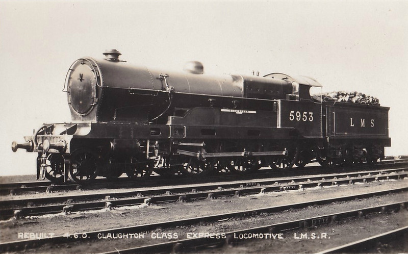 LNWR - 5953 BUCKINGHAM - Bowen-Cooke LNWR 'Claughton' Class 5XP 4-6-0 - built 08/17 by Crewe Works as LNWR No.986 - 02/27 to LMS No.5953 - 09/36 withdrawn.