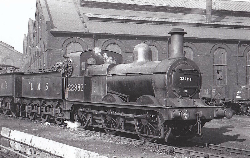 MR - 22983 - Johnson MR Class 1142 2F 0-6-0 - built 12/1876 by Beyer Peacock Ltd. as MR No.1215 - 1907 to MR No.2983, 12/34 to LMS No.22983, 12/50 to BR No.58159 - 03/56 withdrawn from 18A Toton - seen here at Saltley, 09/37.