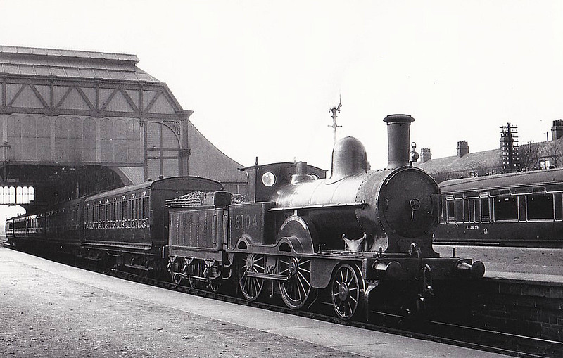 LNWR - 5104 WOODLARK - Webb LNWR Waterloo Class 1P 2-4-0 - built 01/1895 by Crewe Works as LNWR No.794 - 1923 to LMS No.5104 - 01/31 withdrawn - seen here at Barrow in Furness in 1930.