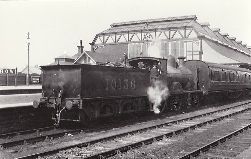 FR - 10136 - Pettigrew FR 'Larger Seagull' Class K2 4-4-0 - built 1896 by Sharp Stewart & Co. as FR No.22 - 1923 to LMS No.10136 - 1931 withdrawn - seen here at Barrow with a single coach train in 1931.