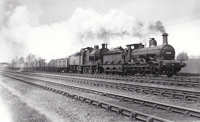 MR - 2645 - Kirtley MR Cass 2F 0-6-0 - built 1870 by Neilson & Co. as MR No.733 - 1907 to MR No.2645 - 09/32 withdrawn - seen here piloting Class 4F No.3926 at Loughborough in 1929.