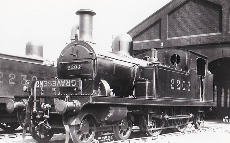 LTSR - 2203 - Whitelegg LTSR Class 1 4-4-2T - built 1880 by Sharp Stewart as LTSR No.4 BROMLEY - 1912 to MR No.2113, 1923 to LMS No.2203, 1930 to LMS No.2080 - 1930 withdrawn.