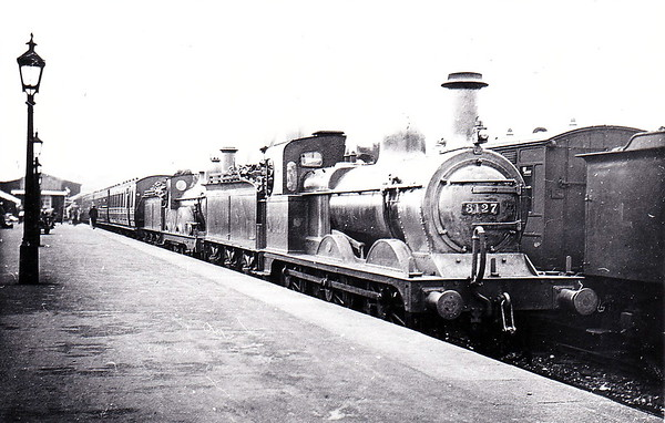 MR - 3127 - Johnson Class 1357 2F 0-6-0 - built 1884 by Beyer Peacock & Co., Works No.2226, as MR No.1629 - 1907 to MR No.3127 - 1923 to LMS - 09/49 to BR No.58228 - 03/62 withdrawn from 18A Toton - seen here at Cambridge piloting a 2-4-0 on a Kettering train.